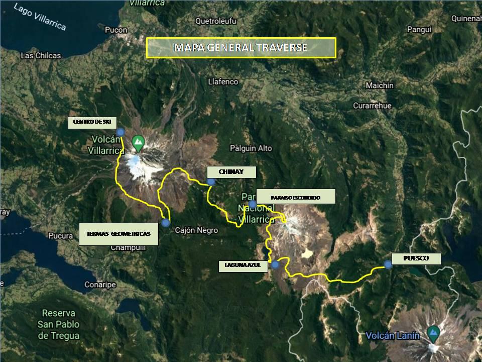 Mapa travesía turismo aventura Villarrica Traverse Express